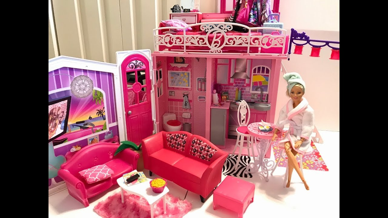 Barbie Bedroom In A Box: Barbie HOUSE! Barbie Bedroom Morning Routine!