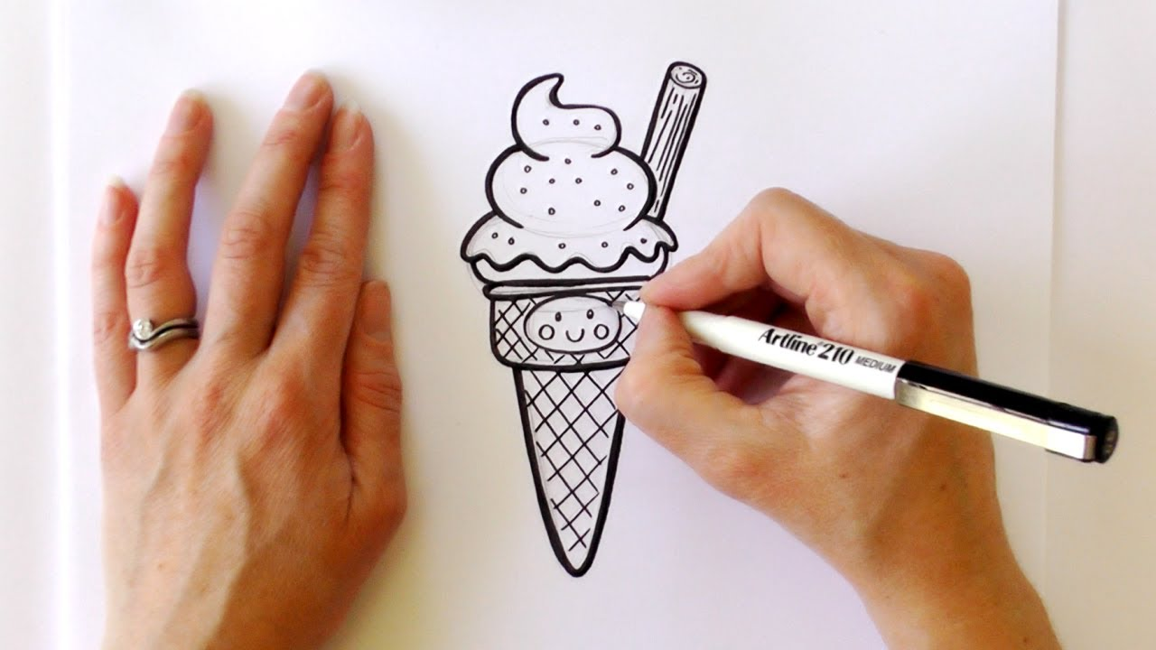 Uncategorized Drawings Of Ice Cream how to draw a cartoon ice cream cone youtube