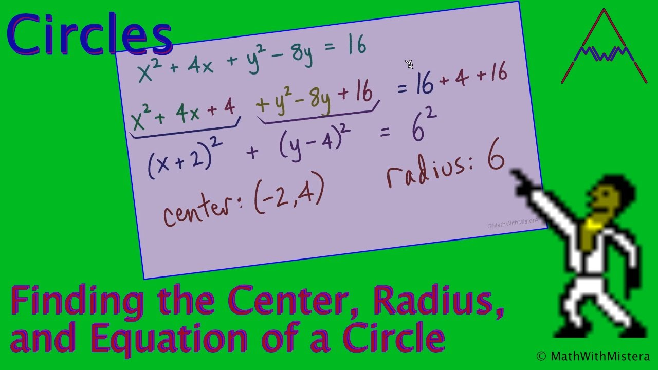 Find The Radius, Center, And Equation Of A Circle  Part 1