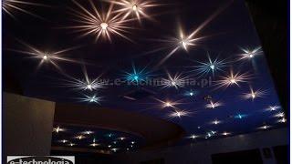 Oświetlenie LED salonu. Sufity podwieszane LED. Sufity G-K. Oświetlenie światłowodowe sufitu