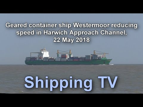 Geared container ship Westermoor in Harwich Approach Channel, 22 May 2018