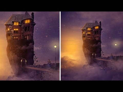 Photoshop Tutorial Manipulation Fantasy : House on the island | Floating island sky fantasy castle