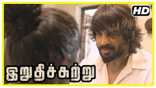 Irudhi Suttru Tamil Movie | Scenes | Ritika agrees to go to match | Madhavan | Radha Ravi