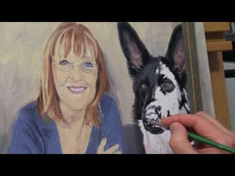 "Dog portrait (with mum) oil painting of ""Max"" & ""Belinda"" time-lapse, speed-painting"