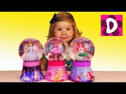 ✿ Барби Принцесса Дисней Снежные Шары Barbie doll Disney Princess Cinderella and Mermaid Snow globes
