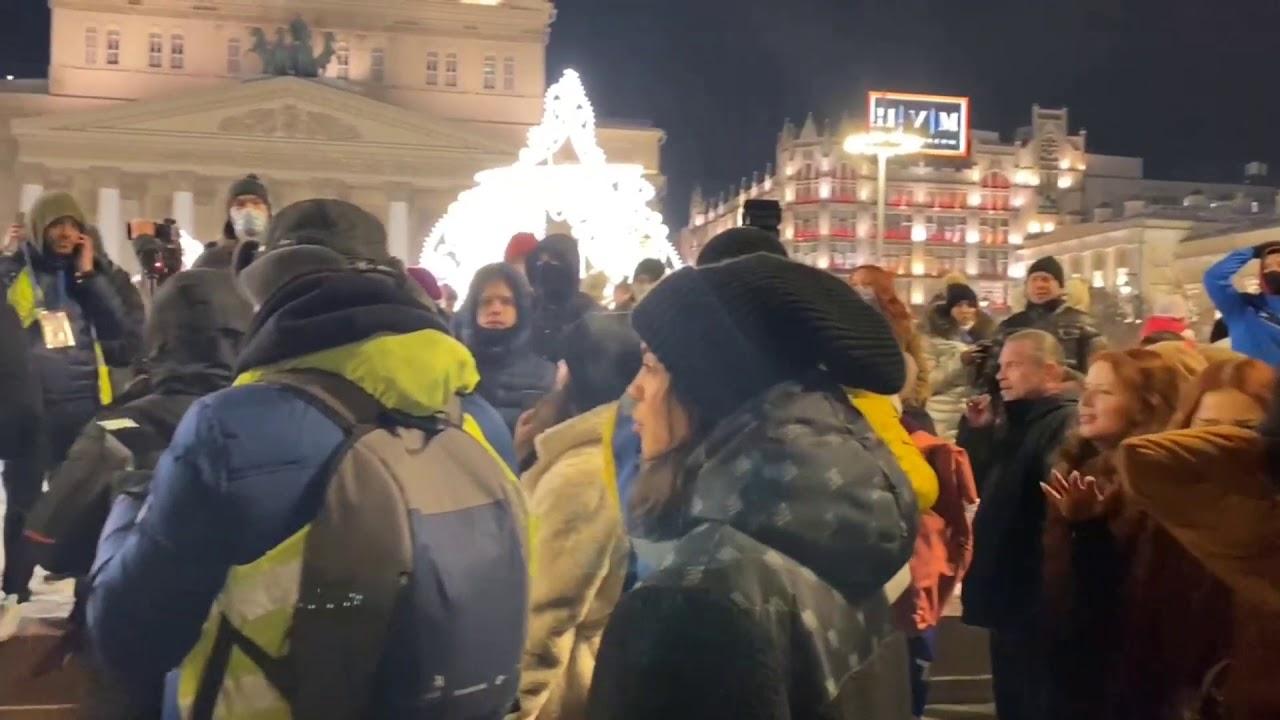 Задержания в центре Москвы на незаконном митинге после суда Навального