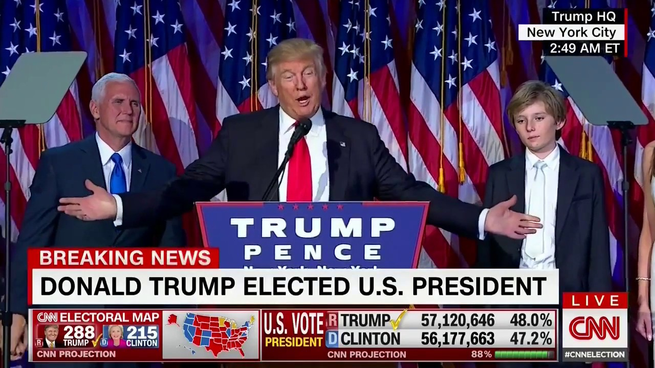 Donald Trump Victory Speech After Presidential Election Against Hillary Clinton Nov 9 2016 720p