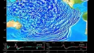 Japan Sendai Earthquake And Tsunami Visualization of Pacific Ocean, 11/03/2011