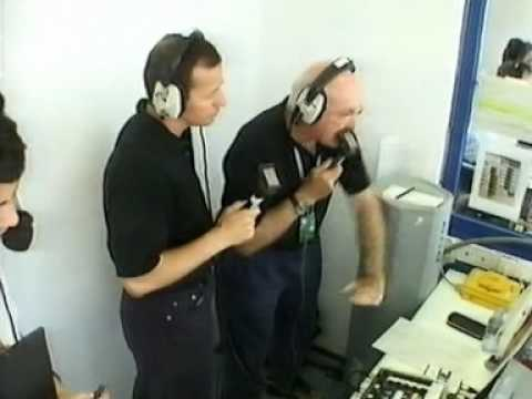 3 drivers tie for pole (Jerez Qualifying, 1997) - Murray Walker commentary box view