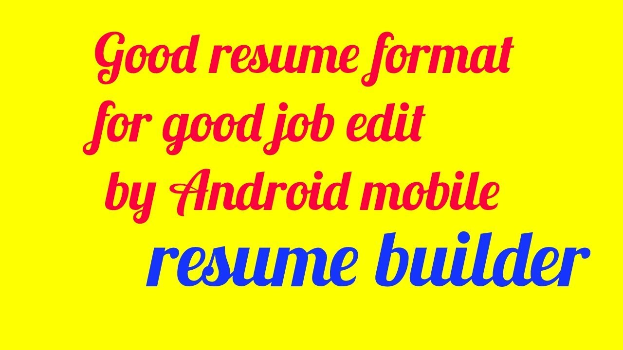 How to write resume on Android mobile YouTube