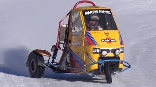 CRAZY Ape Car Proto with Triumph 675 Bike Engine! - Drifting in the Snow!
