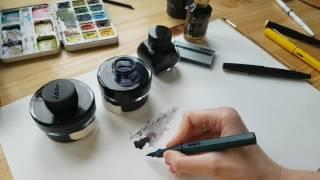 Обзор чернил для перьевых ручек. Lamy, Carbon Ink, Diamine