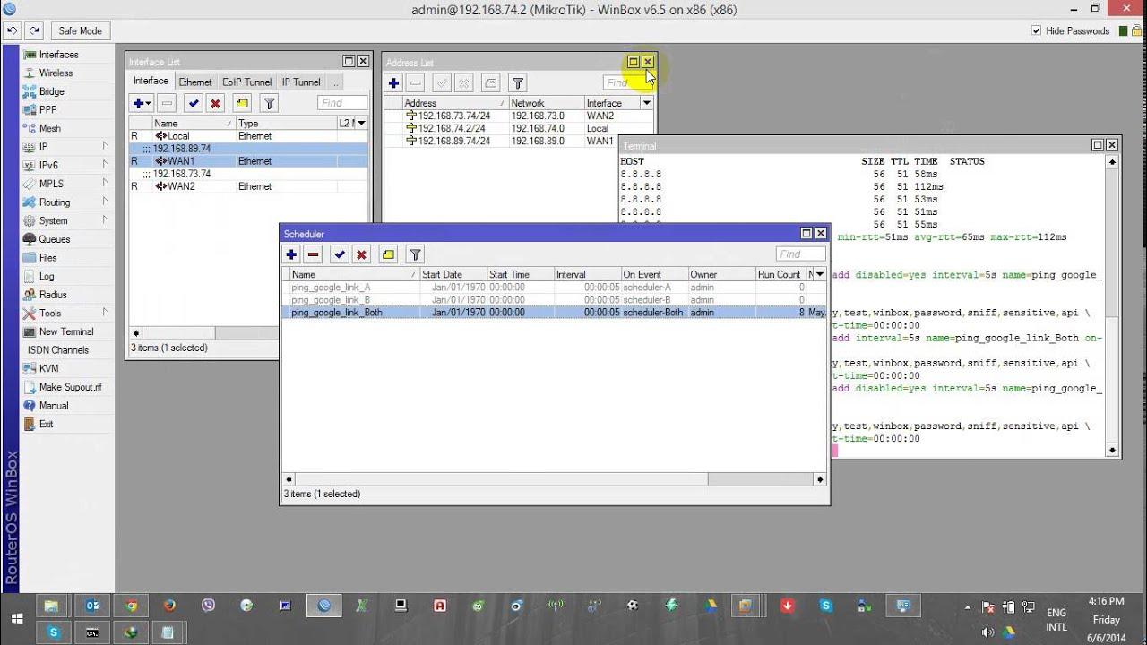Mikrotik Schedul+Script check WANs to Internet