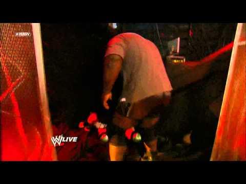 Mark Henry attacks Sheamus during an interview with Matt Striker: Raw, April 15, 2013