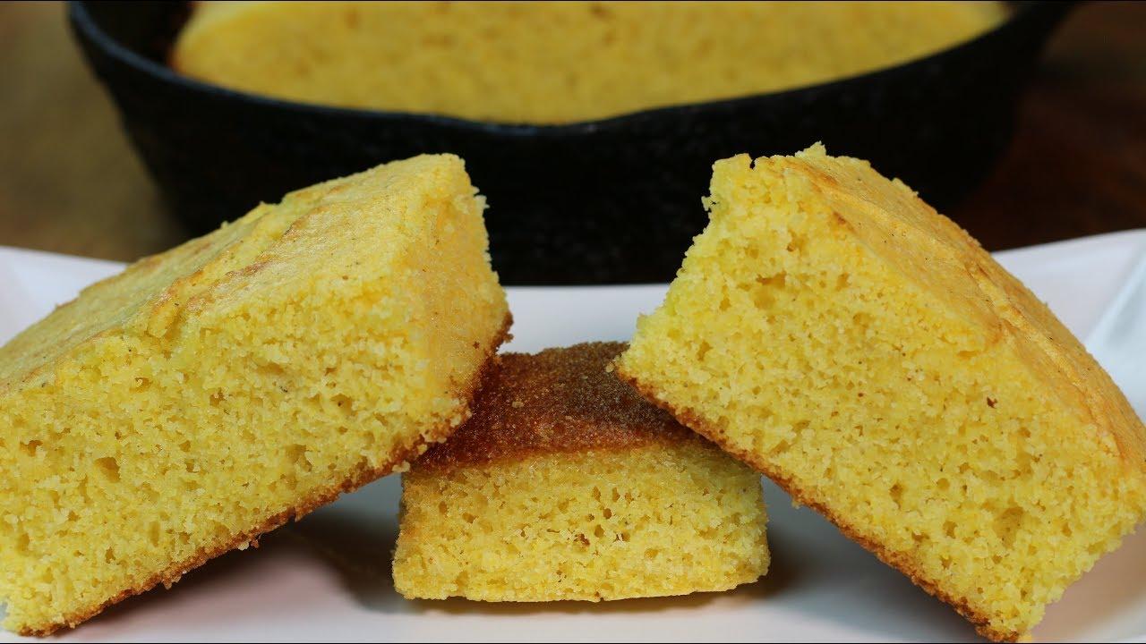 Cast Iron Skillet Cornbread Southern Style Cornbread Recipe Youtube