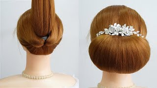 2 Minute Elegant Bun Hairstyle For Wedding Easy Updo For Long Hair Cute Prom Hairstyles Easy