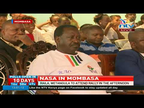 Raila Odinga takes rally to Mombasa barely a week after a section of Nasa losers decamped to Jubilee