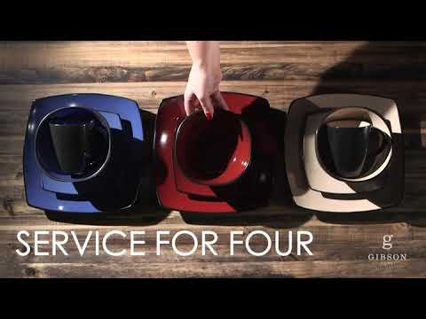 Gibson Soho Lounge 16-Piece Square Reactive Glaze Dinnerware Set