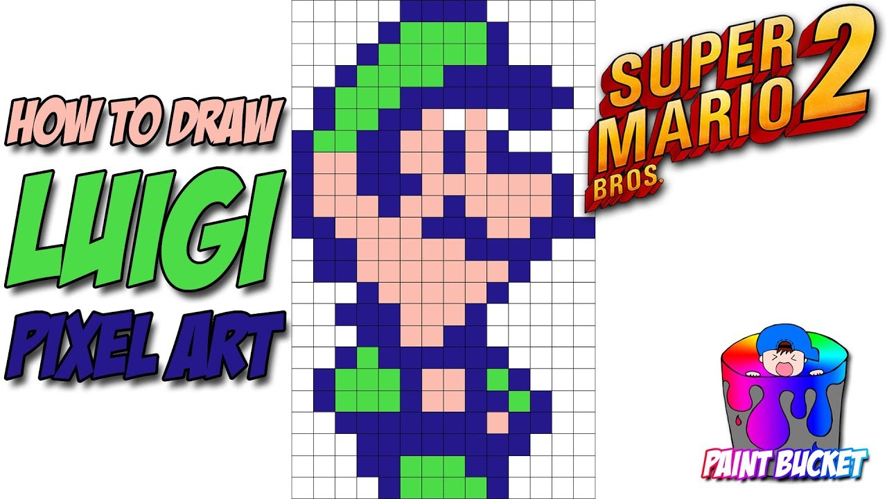 How To Draw Luigi 8 Bit Drawing Mario Bros Nes 1983 Pixel Art