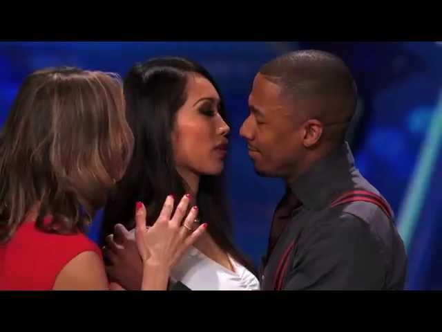 ANGIE VU HA kissing Nick Cannon on America's Got Talent