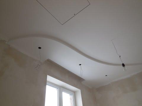 потолок из гипсокартона своими руками видео, двухуровневые потолки