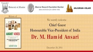 Arrival of the Hon'ble Vice-President of India Dr. M. Hamid Ansari followed by National Anthem