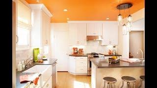 Какие мы можем установить оранжевые натяжные потолки на кухне?