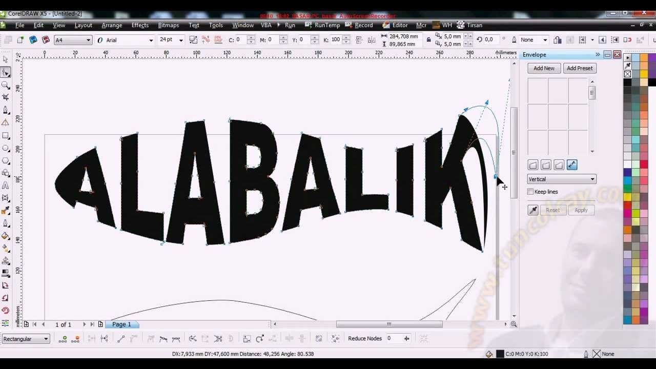 Coreldraw Envelope Text Yazi Corel Graphics Lesson Tutor