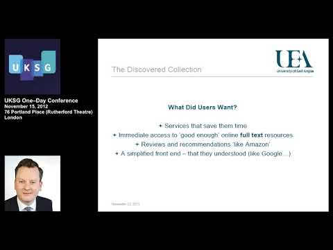 The discovered collection: The impact of discovery services on the usage and exploitation...