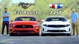 2019 Mustang EcoBoost vs Camaro 1LT // Four-Cylinder Pony Face Off