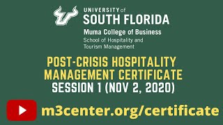 Post-Crisis Hospitality Management Certificate- Session 1
