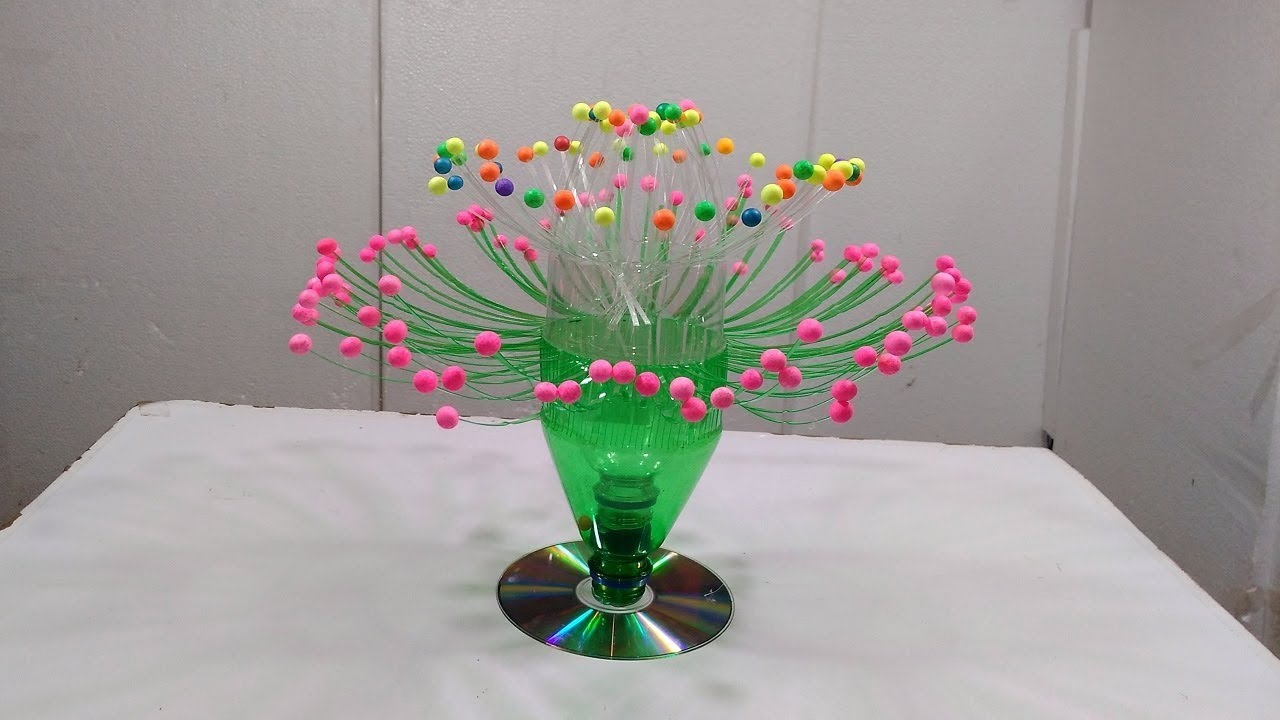 Empty plastic bottle vase making craft water bottle for Plastic bottle vase craft