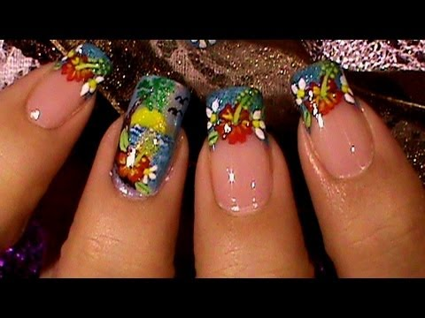 Tropical Island Beach Nail Art Design Tutorial