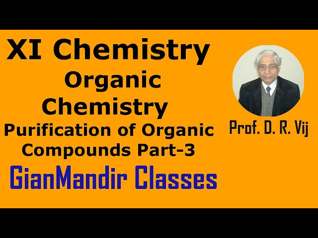 XI Chemistry | Organic Chemistry | Purification of Organic Compounds Part-3 by Ruchi Ma'am