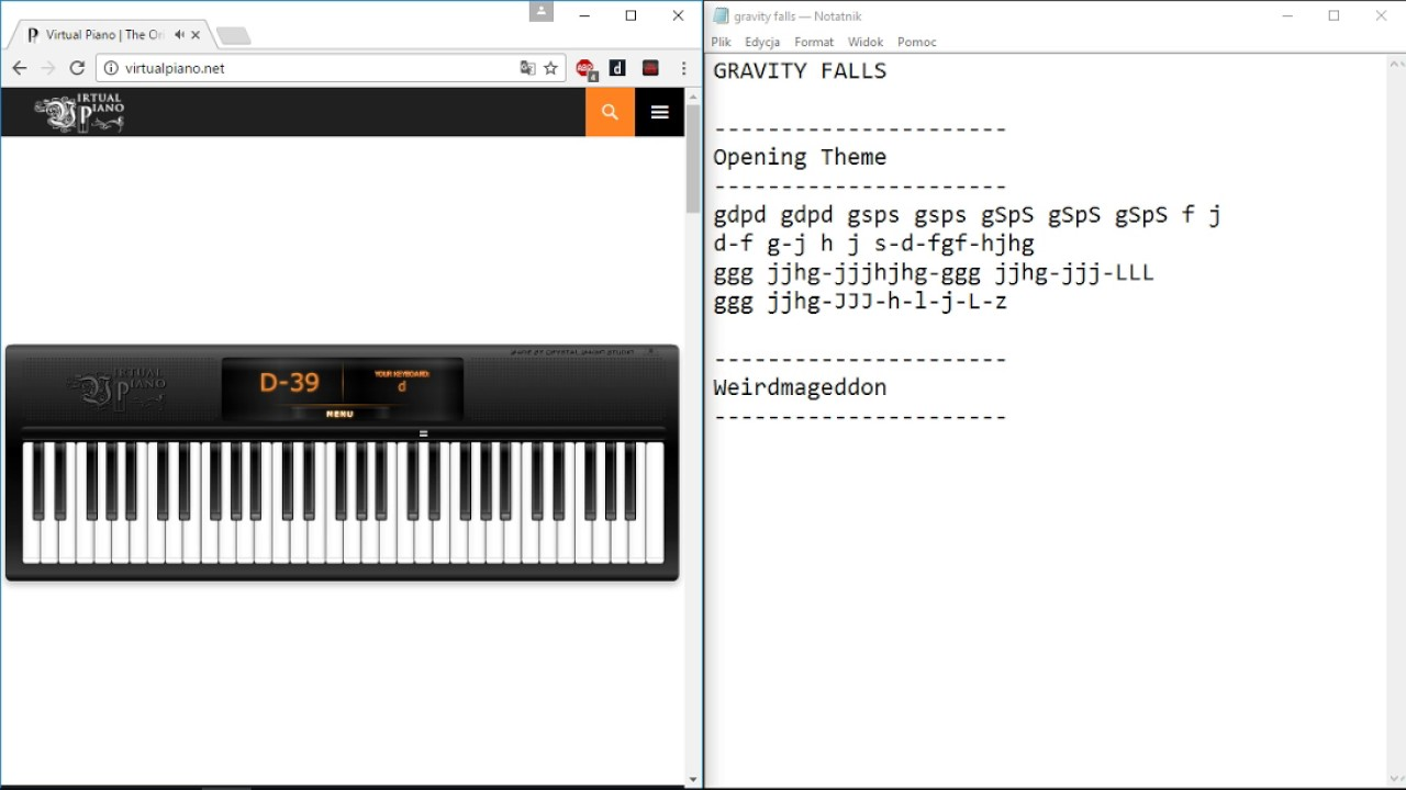 Virtual Piano Gravity Falls Opening Theme Youtube