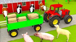 Learn Farm animals name for Kids and feed with Tractor Farm Vehicles