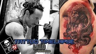 Tattoo Time Lapse - Lalo - Tattoos Black and Grey Woman with Ram Skull