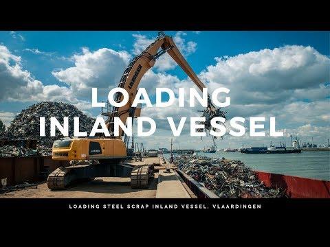 Loading steel scrap inland vessel Vlaardingen