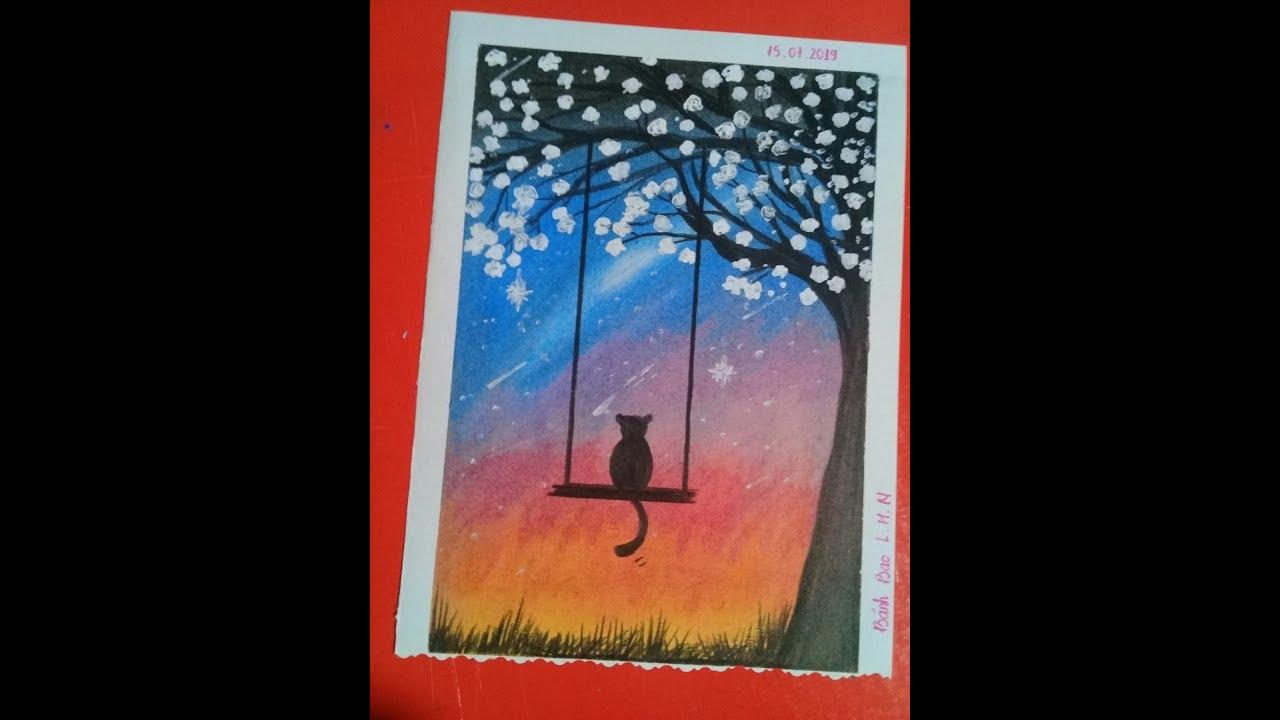 L.H.N    Vẽ tranh sáp dầu cảnh mèo ngồi dưới thân cây