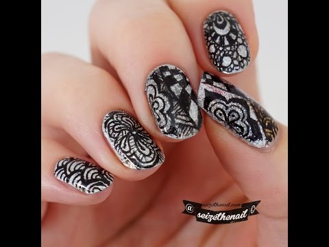Holo Glitter And Zentangle Nail Art Pattern With Ink Youtube