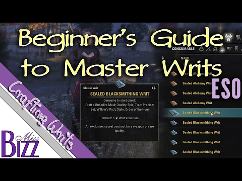 Beginner's Guide to Master Writs in Elder Scrolls Online - ESO Master Crafting Writs