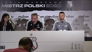 Trener Czesław Michniewicz i Mateusz Wieteska przed meczem z Karabachem Agdam