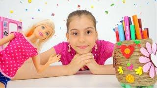 Игры #БАРБИ c #ЛучшаяподружкаВика. Делаем карандашницу своими руками. Видео для девочек