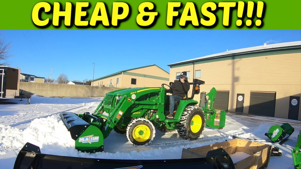 Move Snow Cheap & Fast With An HLA Snow Pusher On Your John Deere Tractor!  Watch It In Action!