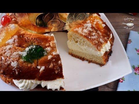 Roscón de Reyes relleno de nata o crema de leche, muy fácil y delicioso