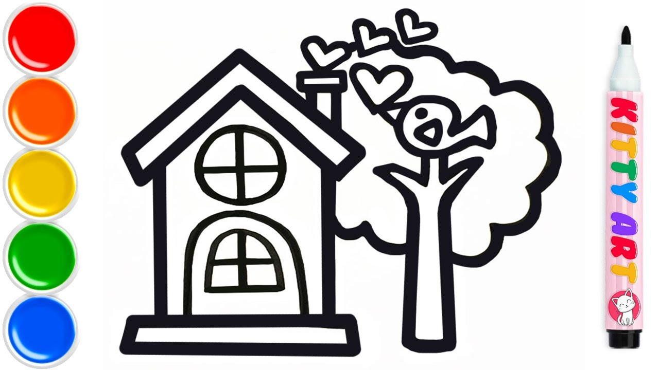 Cute House Drawing And Coloring