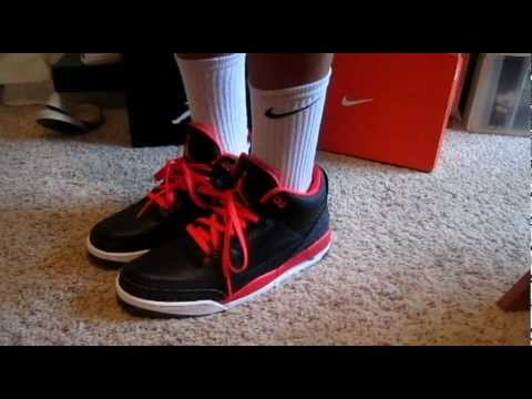 jordan 3 crimson on feet