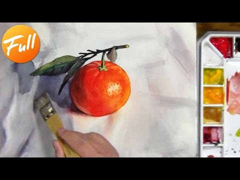 Watercolor Painting of a Mandarin Orange with Leaves (complete)