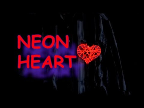DIY валентинка красное сердце на холодном неоне