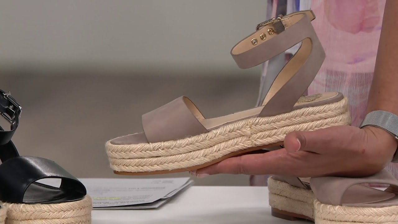 e98d20529d8 Vince Camuto Leather Ankle Strap Espadrilles - Kathalia on QVC - YouTube